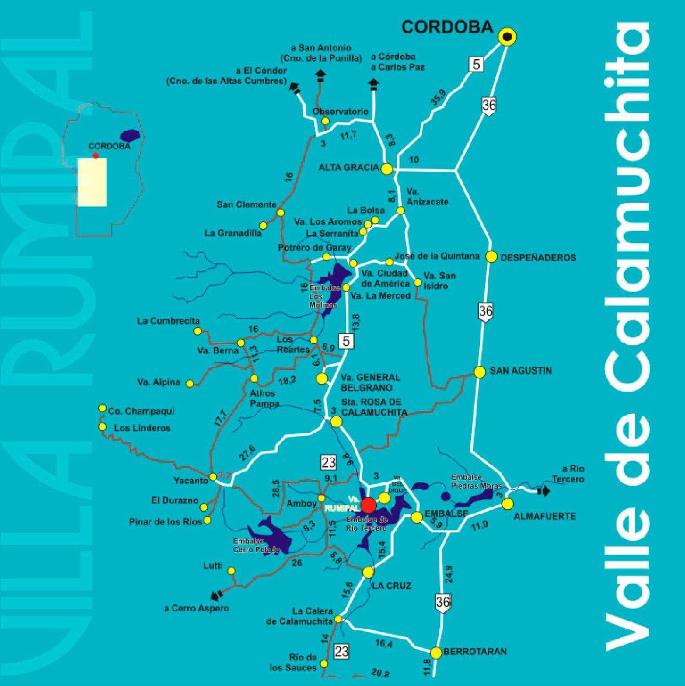 Mapa Del Valle De Calamuchita Turismo Villa Rumipal Cordoba